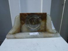 A 1930's alabaster mantel clock