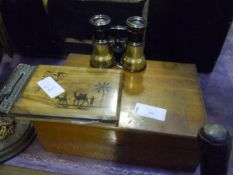 A pair of brass racing glasses, a Jerusalem ware olivewood album and a box containing a 100,000
