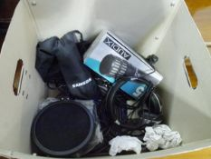 A group of music recording equipment including Samson USB microphone, Audix 15 Dynamic microphone,