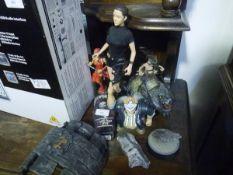 A group of fantasy figures including Lara Croft (Paramount, Playmates Toys), Living Dead Dolls,