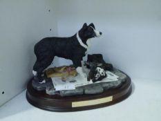 A Border Fine Arts Group, Auld Hemp (sheepdog and lamb), BFA Society 25th Anniversary, the oval base