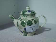 An Emma Bridgewater Collectors' Club small teapot, painted in a green leaf pattern, inscribed to the