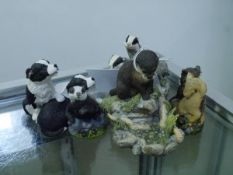 A group of Border Fine Arts models comprising: Reflection (otter by a pond); Future Stars (collie