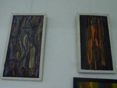 A pair of oils on canvas, each signed Sam, one of stylised figures, unframed