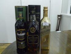Three Scotch whiskies: Johnnie Walker Gold Label Reserve, limited edition bottle; Glenfiddich single