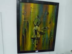 An oil on canvas signed Dibba Zoai, figures in a Surreal style, framed