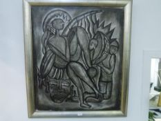 A pair of oils on canvas, each signed Jockey, of African figures, in a Cubist style, monochrome,