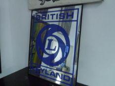 A vintage British Leyland advertising mirror.