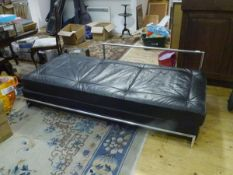 After Eileen Gray (1878-1976), a chrome-framed leather-upholstered day bed