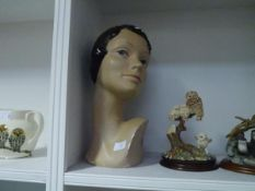 A painted plaster bust of a girl with bobbed hair. 38cm