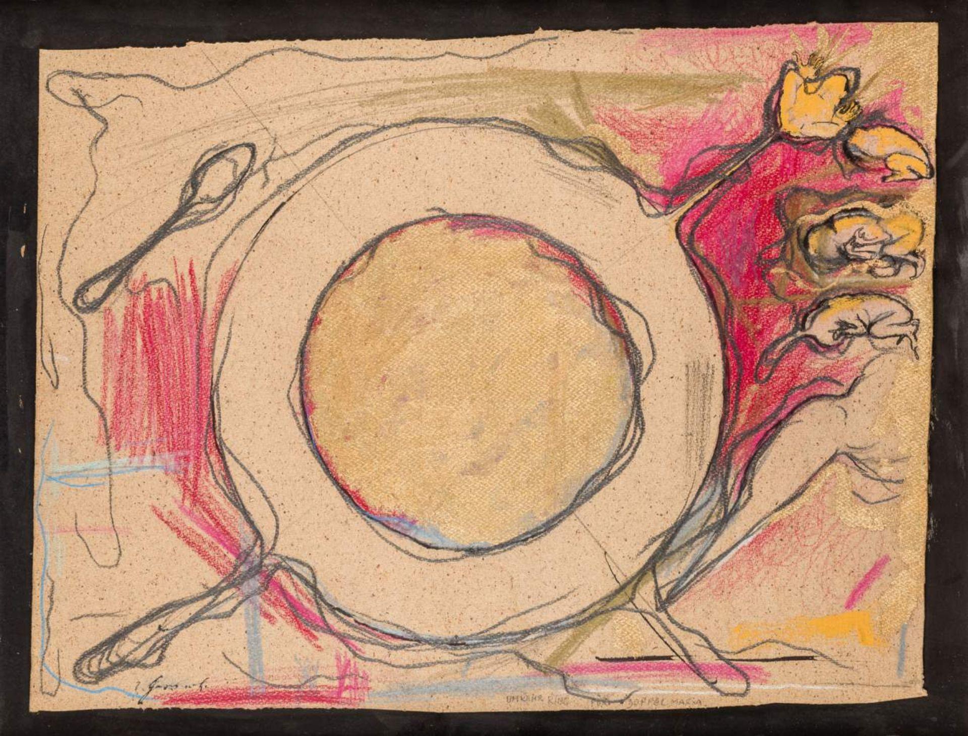Bruno Gironcoli (Villach 1936 - 2010 Wien)  Umkehr Ring für Doppel Maria Mischtechnik auf Papier auf