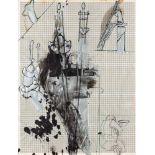 Bruno Gironcoli (Villach 1936 - 2010 Wien)  (ohne Titel)  Mischtechnik auf Papier auf Platte 90 x 68