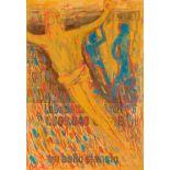 Oswald Oberhuber (Meran 1931 geb.)  Christus Aquarell und Gouache auf Zeitungspapier (CORRIERE DELLA