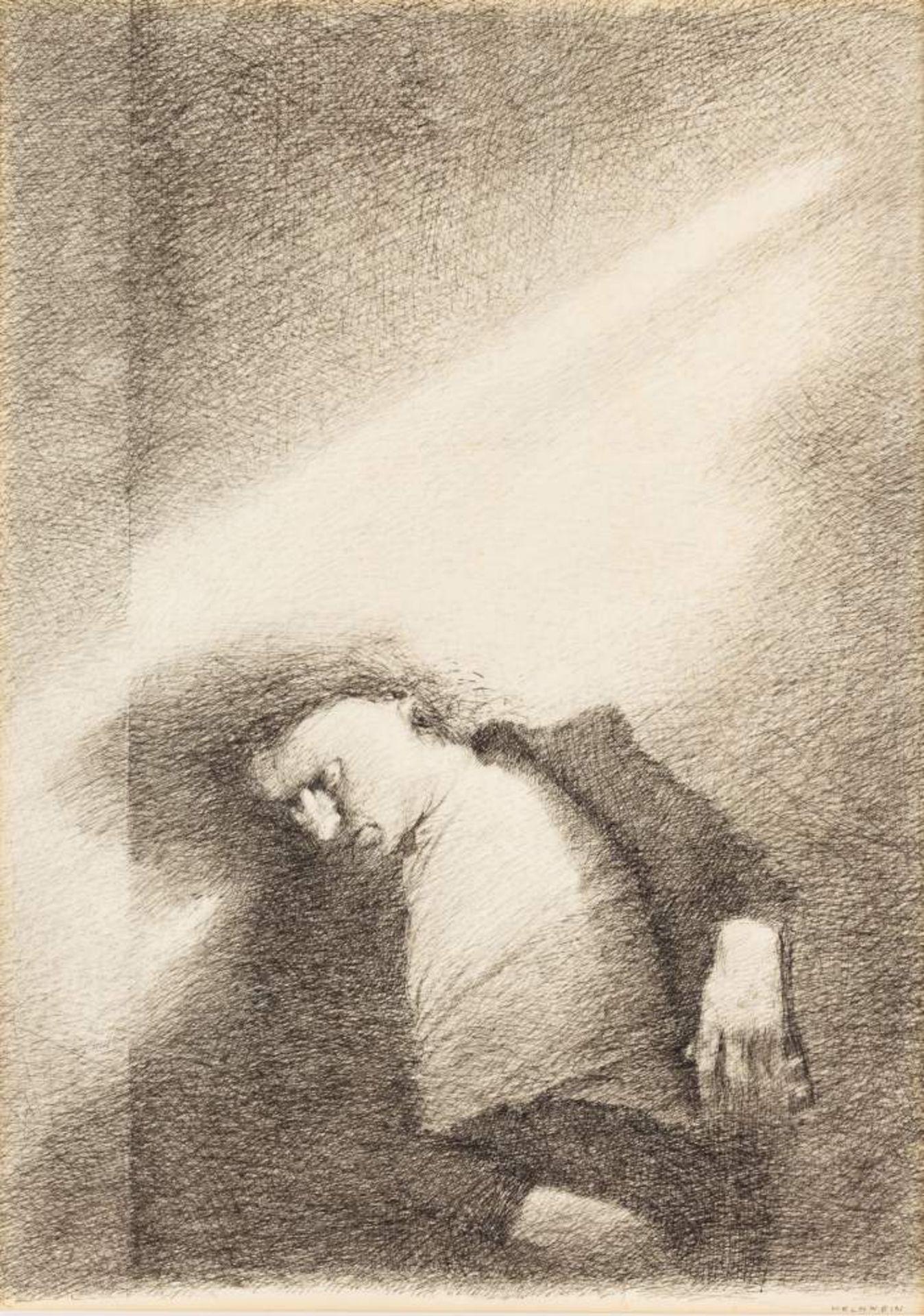 Gottfried Helnwein (Wien 1948 geb.)  (ohne Titel)  Tusche auf Transparentpapier 43,5 x 32 cm wohl um