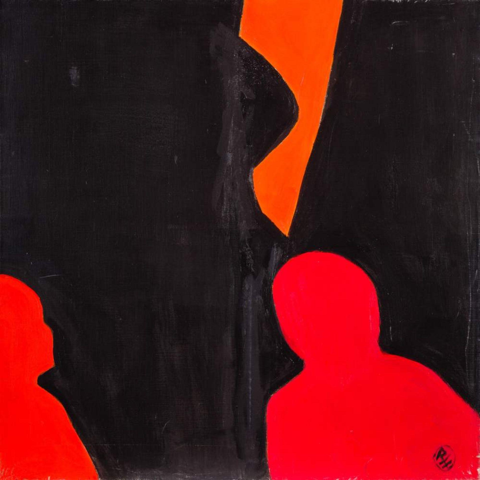 Robert Hammerstiel (Werschetz, Banat 1933 geb.)  Näch(t)licher Knabenbesuch Öl auf Leinwand 80 x