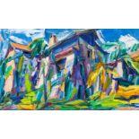 Herbert Danler (Fulpmes 1928 - 2011 Telfs im Stubai)  Weinhof bei Bozen Öl auf Leinwand 60 x 100,5