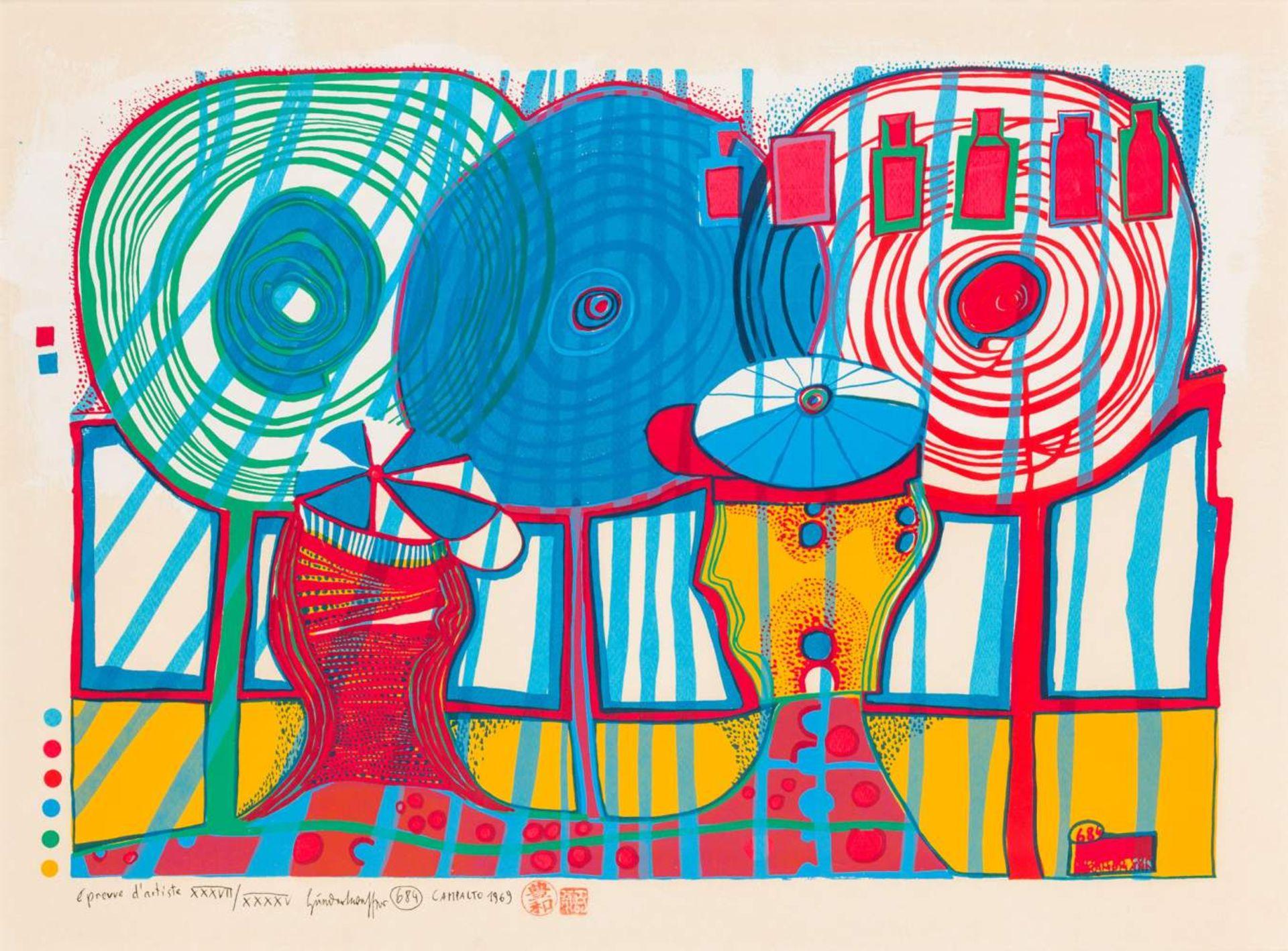 Friedensreich Hundertwasser (Wien 1928 - 2000 vor Brisbane)  A Rainy Day with Walter Kampmann