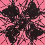 Peter Kogler (Innsbruck 1959 geb.)  Ameisen Siebdruck, Acryl auf Leinwand 60 x 60 cm 1996 rückseitig