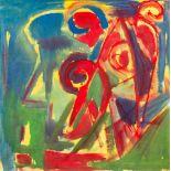 Hubert Schmalix (Graz 1952 geb.)  Kopf Öl auf Leinwand 100 x 100 cm 1981/82 rückseitig zwei Mal