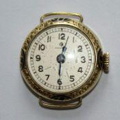Damenarmbanduhr - Glashütte vergold., rundes Gehäuse, mit graviertem tlw. emailliertem Rand, Dca.2,