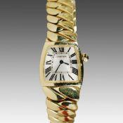 "Damenarmbanduhr - Cartier Schweiz, ""La Dona"", GG 750, geschwungenes trapezförmiges Gehäuse, ca.2,"