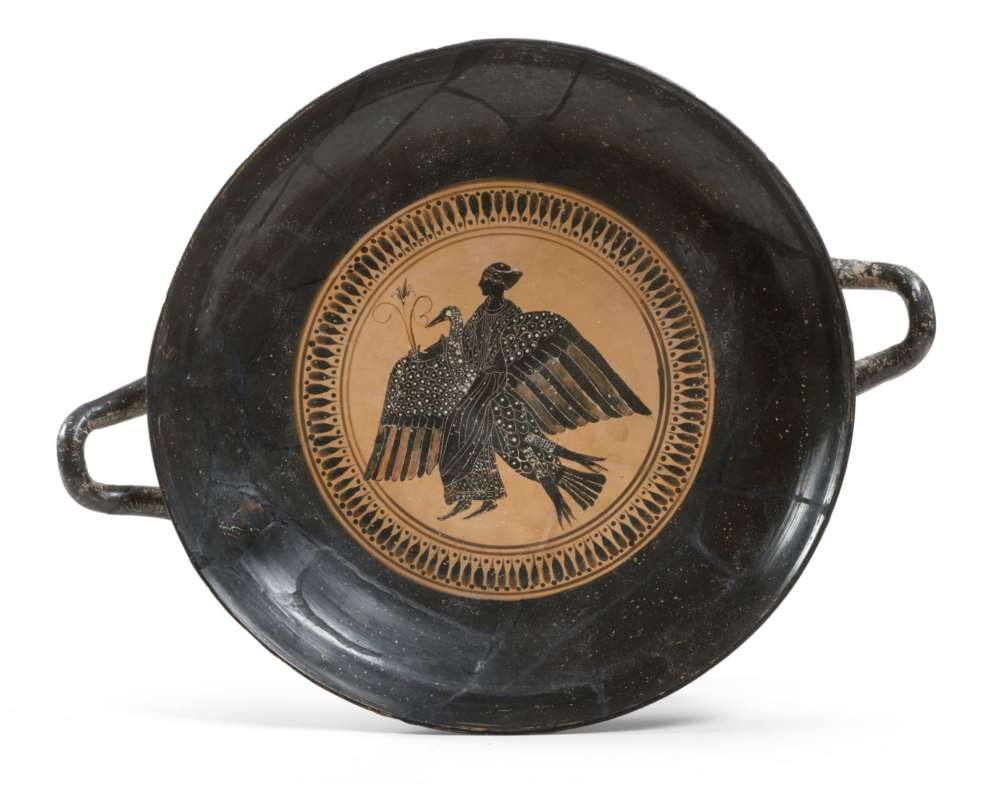GREAT BLACK-FIGURES ATTIC KYLIX, 6TH CENTURY B.C. in clay and shining black glaze, with