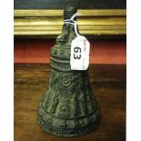 BURNISHED BRONZE BELL, 16TH CENTURY of Gothic taste with scenes bas-relief from the Old Bible.