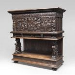 RENAISSANCE WALNUT CASE, PROBABLY PORTUGAL, ELEMENTS OF 16TH CENTURY carved motif of scrolls,
