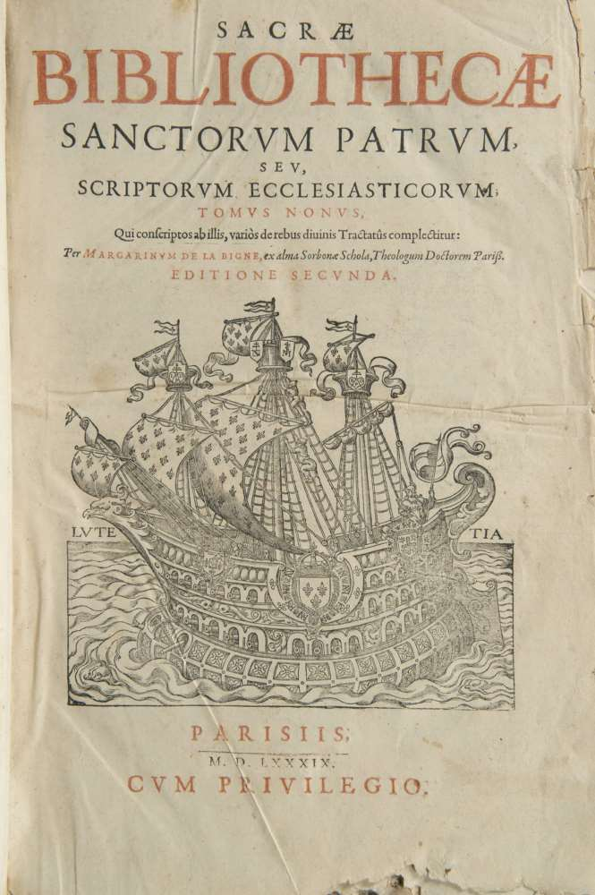 ECCLESIASTICAL Sacrae Bibliothecae. A volume, only ninth tome. And. Paris 1589. Full parchment.