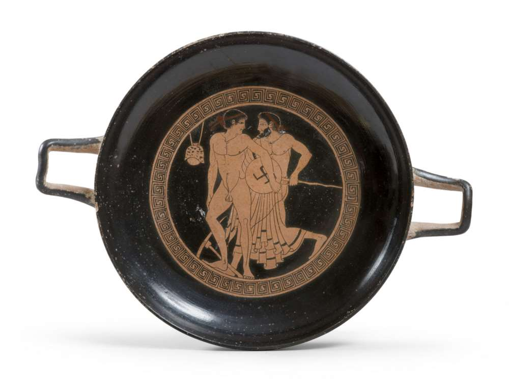 BLACK-FIGURES KYLIX, EARLY 20TH CENTURY in clay and shining black glaze. Tub with smooth edge,