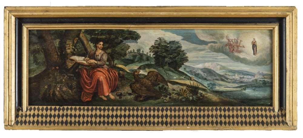 MAARTEN DE VOS, workshop of (Antwerp 1532 - 1630) SAINT JOHN AT PATHMOS Oil on wood, cm. 17 x 60,5