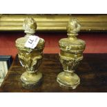 TWO GILDED WOOD PINNACLES, 18TH CENTURY carved to leaves. H. cm. 19. DUE PINNACOLI IN LEGNO