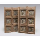 WOOD CARVED SIX PANEL CEILING, ANCIENT ELEMENTS with textured panels to shrubs and leaves in gold on