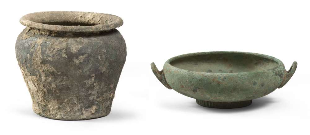 ETRUSCAN SITULA AND CUP, 6TH-4TH CENTURY B.C. Cast bronze and laminate. Situla: flared hem and