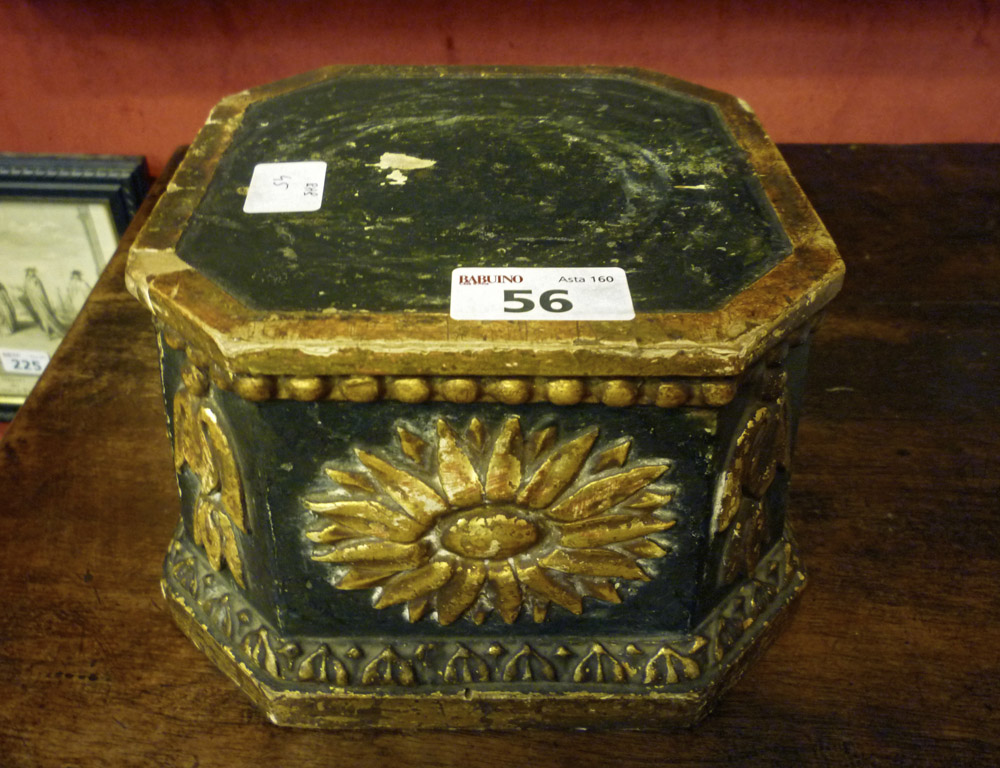 BLACK LACQUER WOOD SIDEBURN, LATE 18TH CENTURY with decorums in sunflowers gold and campanulas.