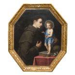 NAPOLETAN PAINTER, 17TH CENTURY SAINT ANTHONY OF PADUA AND CHILD Oil on octagonal canvas, cm. 87 x