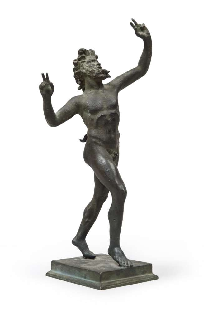 BRONZE SCULPTURE OF A FAUN, LATE 18TH CENTURY in classical laying, with rectangular base. Measures