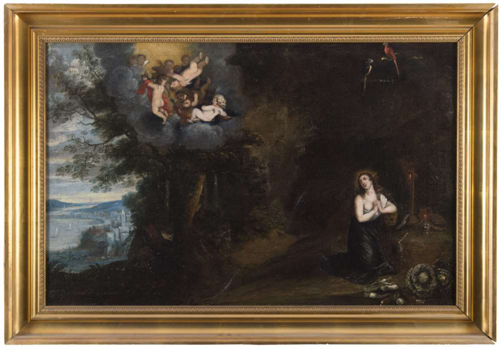 FLEMISH PAINTER, 17TH CENTURY LANDSCAPE WITH PRAYING MAGDALEN Oil on canvas, cm. 63 x 99 Framed