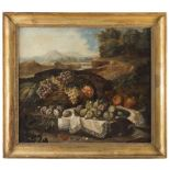 ANIELLO ASCIONE (Active to Naples 1680 - 1708) LANDSCAPE WITH STILL-LIFE OF FRUIT Oil on canvas, cm.