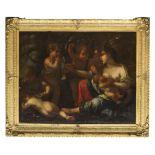 VALERIO CASTELLO, att. to (Genoa 1624 - 1659) THE CHARITY Oil on canvas, cm. 123,5 x 157,5