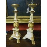 A PAIR OF SMALL LACQUERED WOOD CANDLESTICKS, 18TH CENTURY to white fund with finishes in gold. Feral