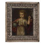 FLEMISH PAINTER, LATE 18TH CENTURY SALVATOR MUNDI Oil on copper, cm. 16 x 12,5 PITTORE FIAMMINGO,