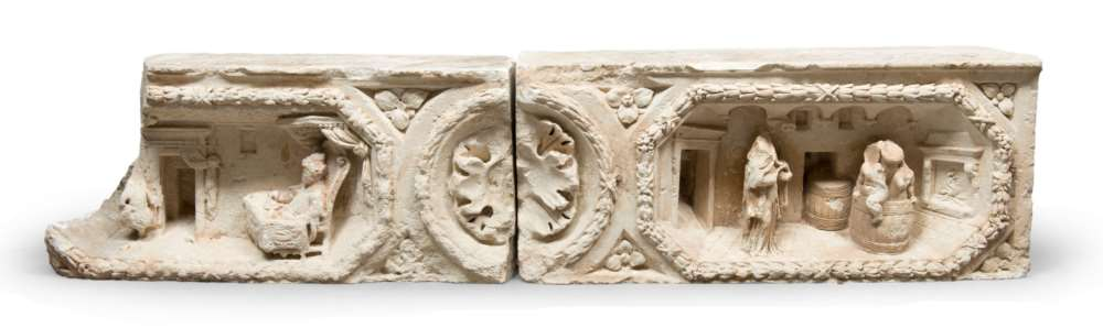 STONE LINTEL, SOUTHERN ITALY 17TH CENTURY in two elements, with high-relief inside with family