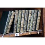 Ten leather bound volumes by William Makepeace Tha