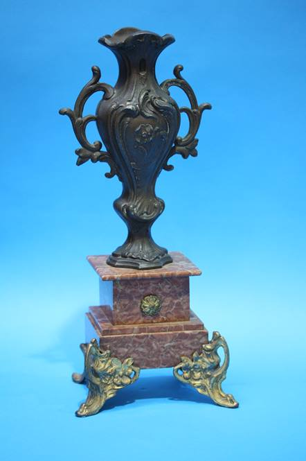 Lot 60 - A 19th Century French Spelter and marble clock gar
