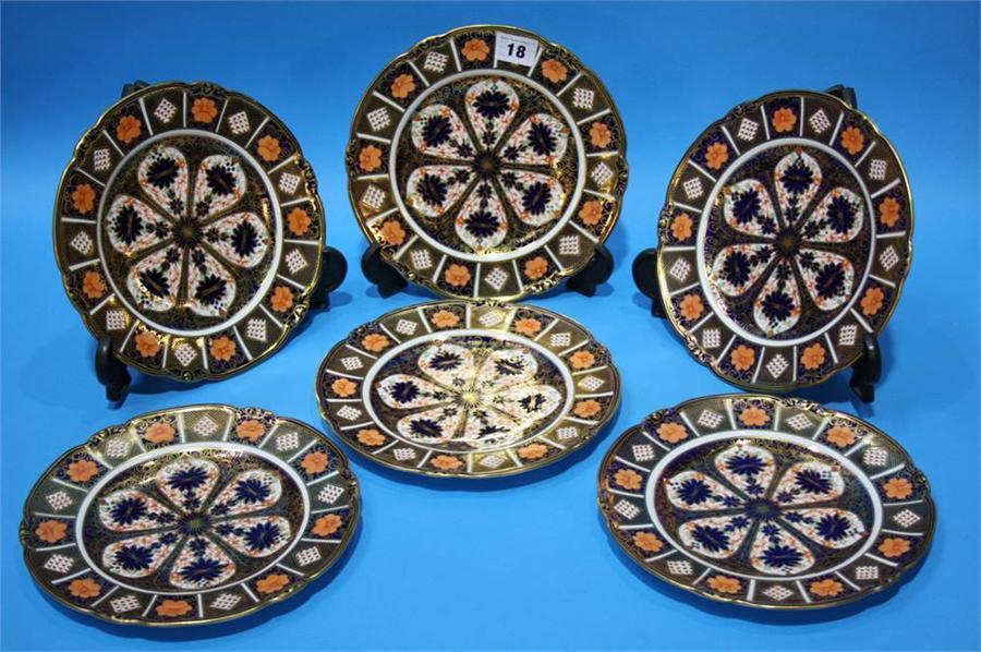 Lot 18 - A set of six Royal Crown Derby Imari pattern plate