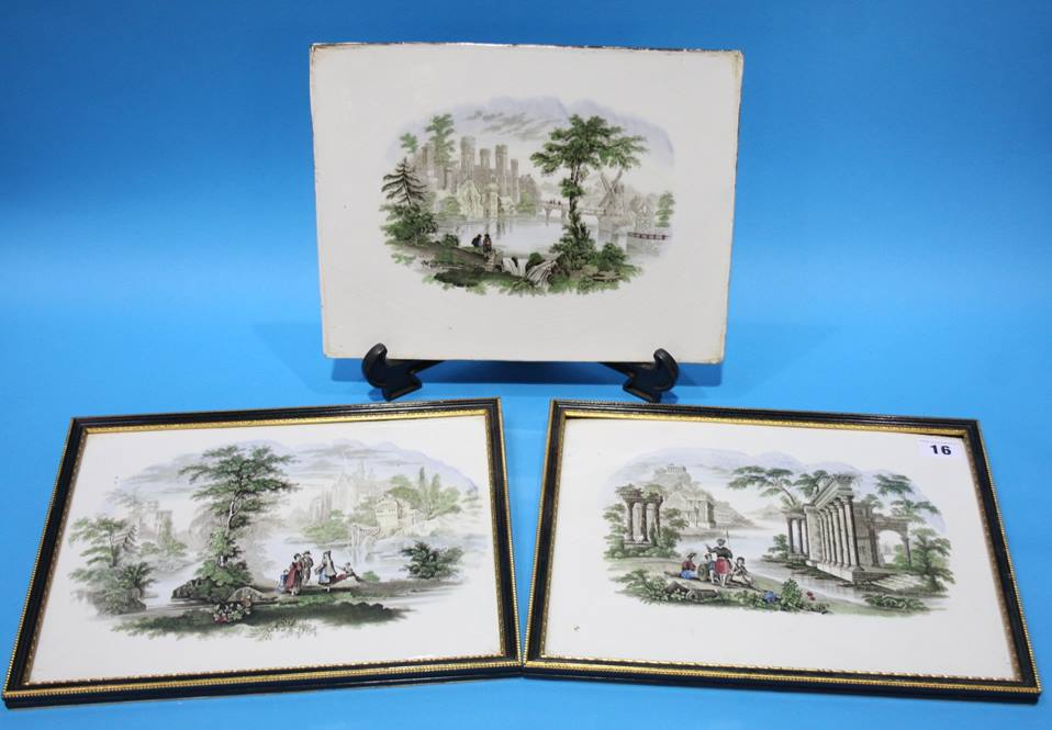 Lot 16 - A set of three early Sunderland Wall plaques, Dawson's Low Ford Pottery, South Hylton works, circa