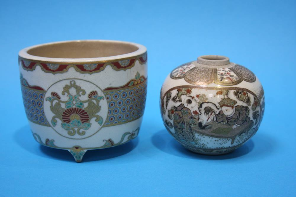 Lot 39 - Two Satsuma vases, a Royal Worcester posey vase, and a Budgie