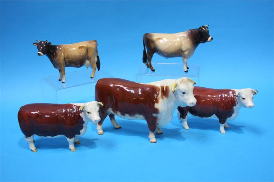 Lot 38 - A Beswick 'Hereford Bull' 1363a, Two 'CH of Champi