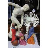 Blanc de Chine figurine and 4 others